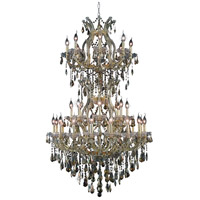 Elegant Lighting Maria Theresa 34 Light Dining Chandelier in Gold with Swarovski Strass Golden Teak Crystal 2801D36SG-GT/SS