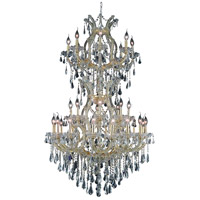 Elegant Lighting Maria Theresa 34 Light Dining Chandelier in Gold with Swarovski Strass Clear Crystal 2801D36SG/SS