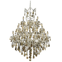 Maria Theresa 28 Light 38 inch Chrome Dining Chandelier Ceiling Light in Golden Teak, Swarovski Strass