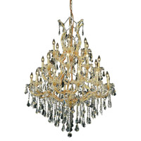 Elegant Lighting Maria Theresa 28 Light Dining Chandelier in Gold with Royal Cut Clear Crystal 2801D38G/RC alternative photo thumbnail