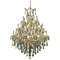 Elegant Lighting Maria Theresa 28 Light Dining Chandelier in Gold with Royal Cut Golden Teak Crystal 2801D38G-GT/RC