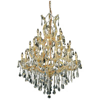 Elegant Lighting Maria Theresa 28 Light Dining Chandelier in Gold with Royal Cut Clear Crystal 2801D38G/RC photo thumbnail