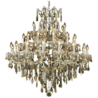 Elegant Lighting Maria Theresa 37 Light Foyer in Chrome with Royal Cut Golden Teak Crystal 2801G44C-GT/RC