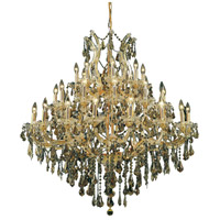 Elegant Lighting Maria Theresa 37 Light Foyer in Gold with Royal Cut Golden Teak Crystal 2801G44G-GT/RC