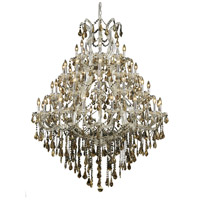 Elegant Lighting Maria Theresa 49 Light Foyer in Chrome with Royal Cut Golden Teak Crystal 2801G46C-GT/RC