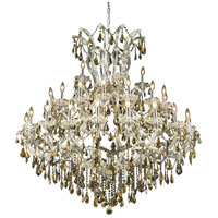Elegant Lighting Maria Theresa 41 Light Foyer in Chrome with Swarovski Strass Golden Teak Crystal 2801G52C-GT/SS