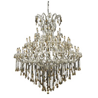Elegant Lighting Maria Theresa 49 Light Foyer in Chrome with Royal Cut Golden Teak Crystal 2801G60C-GT/RC