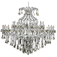 Maria Theresa 49 Light 72 inch Chrome Foyer Ceiling Light in Golden Teak, Swarovski Strass