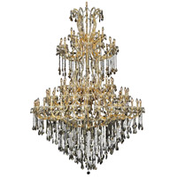Elegant Lighting Maria Theresa 85 Light Foyer in Gold with Royal Cut Golden Teak Crystal 2801G96G-GT/RC