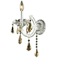 Elegant Lighting Maria Theresa 1 Light Wall Sconce in Chrome with Royal Cut Golden Teak Crystal 2801W1C-GT/RC