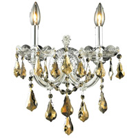 Elegant Lighting Maria Theresa 2 Light Wall Sconce in Chrome with Royal Cut Golden Teak Crystal 2801W2C-GT/RC