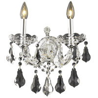 Elegant Lighting Maria Theresa 2 Light Wall Sconce in Chrome with Royal Cut Clear Crystal 2801W2C/RC