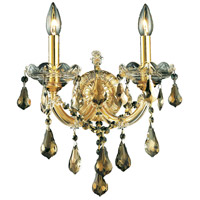 Elegant Lighting Maria Theresa 2 Light Wall Sconce in Gold with Royal Cut Golden Teak Crystal 2801W2G-GT/RC
