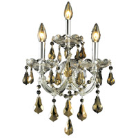 Elegant Lighting Maria Theresa 3 Light Wall Sconce in Chrome with Royal Cut Golden Teak Crystal 2801W3C-GT/RC