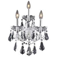 Elegant Lighting Maria Theresa 3 Light Wall Sconce in Chrome with Royal Cut Clear Crystal 2801W3C/RC
