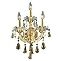 Elegant Lighting Maria Theresa 3 Light Wall Sconce in Gold with Royal Cut Golden Teak Crystal 2801W3G-GT/RC alternative photo thumbnail