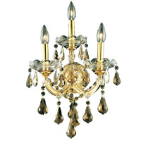 Elegant Lighting Maria Theresa 3 Light Wall Sconce in Gold with Royal Cut Golden Teak Crystal 2801W3G-GT/RC