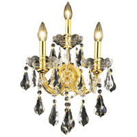 Elegant Lighting Maria Theresa 3 Light Wall Sconce in Gold with Swarovski Strass Clear Crystal 2801W3G/SS