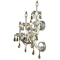 Elegant Lighting Maria Theresa 5 Light Wall Sconce in Chrome with Swarovski Strass Golden Teak Crystal 2801W5C-GT/SS