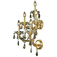 Elegant Lighting Maria Theresa 5 Light Wall Sconce in Gold with Royal Cut Golden Teak Crystal 2801W5G-GT/RC