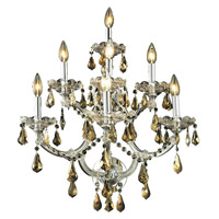 Elegant Lighting Maria Theresa 7 Light Wall Sconce in Chrome with Royal Cut Golden Teak Crystal 2801W7C-GT/RC alternative photo thumbnail