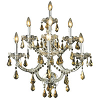 Elegant Lighting Maria Theresa 7 Light Wall Sconce in Chrome with Royal Cut Golden Teak Crystal 2801W7C-GT/RC
