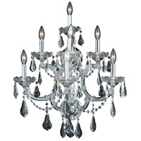 Elegant Lighting Maria Theresa 7 Light Wall Sconce in Chrome with Royal Cut Clear Crystal 2801W7C/RC