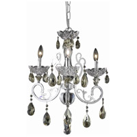 Elegant Lighting Aria 3 Light Dining Chandelier in Chrome with Swarovski Strass Golden Teak Crystal 2830D19C-GT/SS