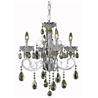 Aria 4 Light 20 inch Chrome Dining Chandelier Ceiling Light in Golden Teak, Swarovski Strass