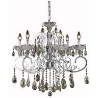 Elegant Lighting Aria 6 Light Dining Chandelier in Chrome with Royal Cut Golden Teak Crystal 2830D26C-GT/RC