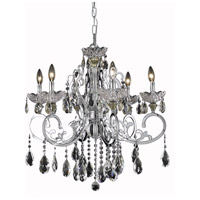 Elegant Lighting Aria 6 Light Dining Chandelier in Chrome with Swarovski Strass Clear Crystal 2830D26C/SS