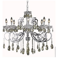 Elegant Lighting Aria 8 Light Dining Chandelier in Chrome with Royal Cut Golden Teak Crystal 2830D29C-GT/RC