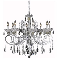 Elegant Lighting Aria 8 Light Dining Chandelier in Chrome with Elegant Cut Clear Crystal 2830D29C/EC
