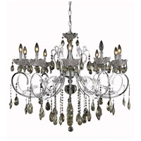 Aria 10 Light 36 inch Chrome Dining Chandelier Ceiling Light in Golden Teak, Swarovski Strass