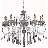 Elegant Lighting Aria 10 Light Dining Chandelier in Chrome with Swarovski Strass Clear Crystal 2830D36C/SS photo thumbnail