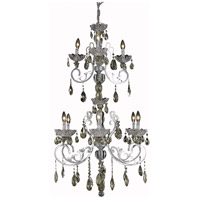 Elegant Lighting Aria 9 Light Foyer in Chrome with Swarovski Strass Golden Teak Crystal 2830G45C-GT/SS