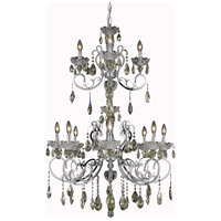 Elegant Lighting Aria 12 Light Foyer in Chrome with Royal Cut Golden Teak Crystal 2830G48C-GT/RC