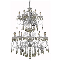 Elegant Lighting Aria 16 Light Foyer in Chrome with Royal Cut Golden Teak Crystal 2830G52C-GT/RC