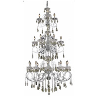 Elegant Lighting Aria 19 Light Foyer in Chrome with Royal Cut Golden Teak Crystal 2830G80C-GT/RC