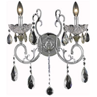Elegant Lighting Aria 2 Light Wall Sconce in Chrome with Swarovski Strass Clear Crystal 2830W15C/SS