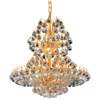 Elegant Lighting Sirius 14 Light Dining Chandelier in Gold with Swarovski Strass Clear Crystal 2908D24G/SS