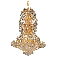 Elegant Lighting Sirius 22 Light Dining Chandelier in Gold with Swarovski Strass Clear Crystal 2908D28G/SS photo thumbnail
