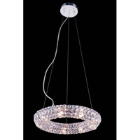 Elegant Lighting Halo 9 Light Pendant in Chrome with Royal Cut Clear Crystal 2912D14C/RC