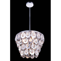 Elegant Lighting Sophia 4 Light Pendant in Chrome with Royal Cut Clear Crystal 2913D16C/RC