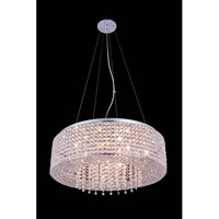 Elegant Lighting Amelie 10 Light Pendant in Chrome with Royal Cut Clear Crystal 2914D24C/RC