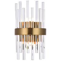 Elegant Lighting 3000W8G Dallas 2 Light 8 inch Gold and Clear Wall Sconce Wall Light