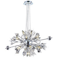 Elegant Lighting Cyclone 22 Light Dining Chandelier in Chrome with Elegant Cut Clear Crystal 3400D24C/EC