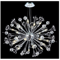 Elegant Lighting Cyclone 24 Light Dining Chandelier in Chrome with Elegant Cut Clear Crystal 3400D36C/EC