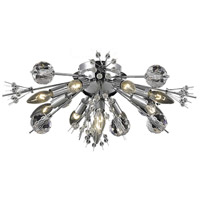 Elegant Lighting Cyclone 10 Light Flush Mount in Chrome with Elegant Cut Clear Crystal 3400F20C/EC