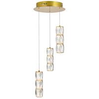 Elegant Lighting 3500D3RG Polaris LED 12 inch Gold Pendant Ceiling Light